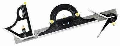Rolson 300mm Combination Square Set With Protractor & Built In Spirit Level