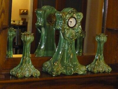 Art nouveau Majolica clock and garniture