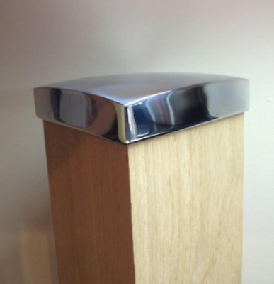 Unique chrome or brushed nickel flat newel post caps
