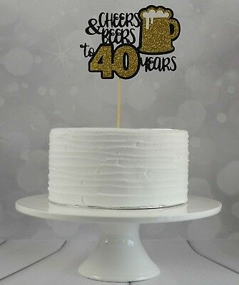 40th Birthday Cake Topper 6 Glitter Card Mens Party Decorations