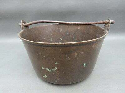 Antique small brass jam pan with wrought iron handle - great as a planter
