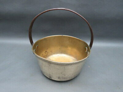 Antique small brass jam pan with fixed iron handle - great as a planter