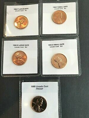 1960 + 1960 D Large & Small Date  CHOICE UNC  + PROOF Lincoln Cent  (5 COINS)