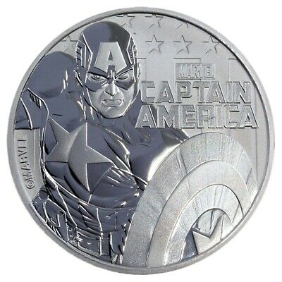 2019 Tuvalu Marvel Series Captain America 1 oz Silver PRE-SALE Capsuled BU Coin