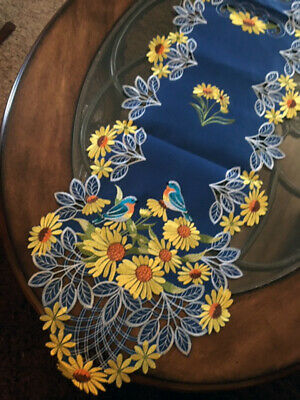 "Colorful Sunflower Decor Table Runner Dresser Scarf Embroidered Floral 68""x 13"""