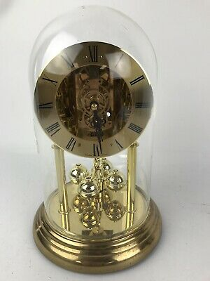 Hermle Skeleton Dial Anniversary Clock Glass Dome Made In Germany #1640