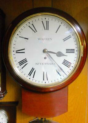 19th Century Chain Fusee Mahogany Circular Drop Dial Wall Clock