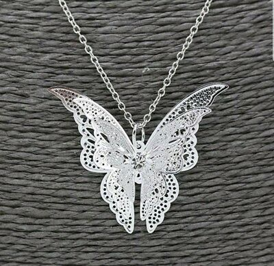 Elegant Women Girls Butterfly Charm Pendant Long Chain Necklace Jewelry Gift