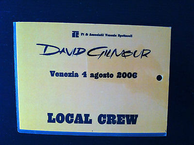 """DAVID GILMOUR Pass Ticket concert """"canceled"""" in Venice / Italy 2006 (Pink Floyd)"""