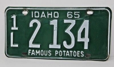1965 IDAHO License Plate Collectible Antique Vintage 1L 2 134 Famous Potatoes