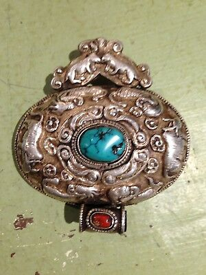 Tibetan Silver Ceremonial pendant with Turquoise and Coral