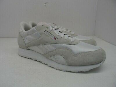 ec61334ed03 Reebok Women s Classic Nylon Suede Casual Athletic Shoe White Silver Pink  12M