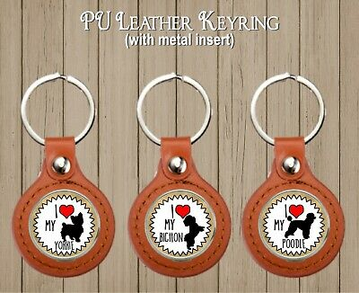 Pu Leather Keyring With Metal Insert Dog Breed Gift Boxed Birthday Mum Dad Xmas