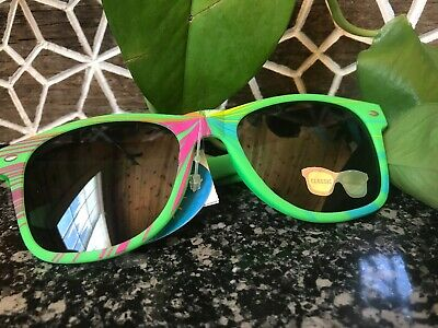 Wayfarer Sunglasses Adult Unisex Funky Green Multi Color Frame Black Tinted Len