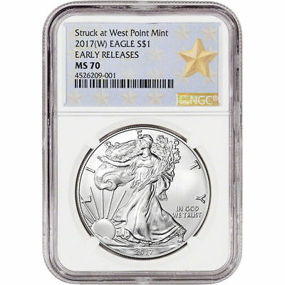 2017-(W) American Silver Eagle 1oz NGC MS70 ER Gold Star Label