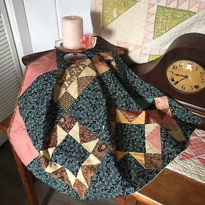 Antique Vintage Old 1800's Early Prints Ohio Star Blues Patchwork Quilt Piece #2