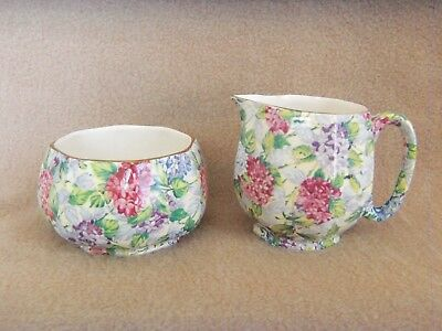 Antique James Kent Chintz 'HYDRANGEA' Creamer & Sugar Bowl Multi-Color England