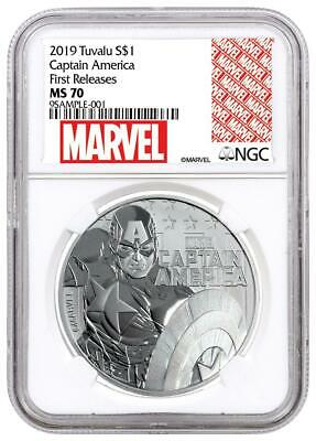 2019 Tuvalu Marvel Series Captain America 1 oz Silver .9999 NGC MS70 FR Coin