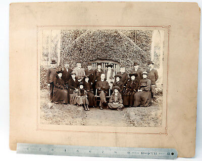 """Victorian Photograph of Large Family Group-8 x10"""" Albumen Print- Card Mounted"""