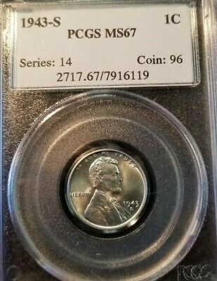1943 S Lincoln Steel Wheat Cent 1C Pcgs Ms 67 Very High Grade Beautiful Luster