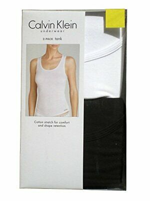 Womens Small Calvin Klein Cotton Blend Stretch Tank Tops 2 Pack - Black/White