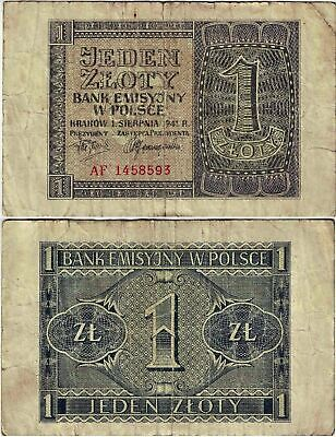 Polen Banknote 1 Zloty 1941 EMISSION BANK IN POLAND Ro.579a P-99 SEHR SELTEN