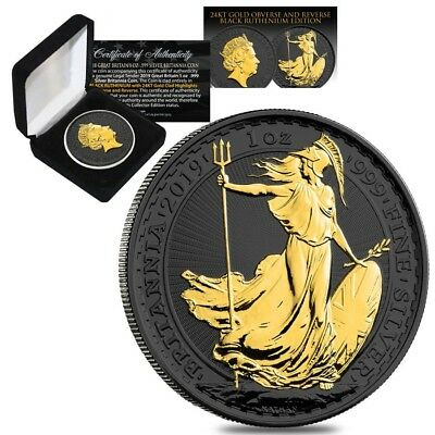 2019 Great Britain 1 oz Silver Britannia Coin Black Ruthenium 24K Gold Edition