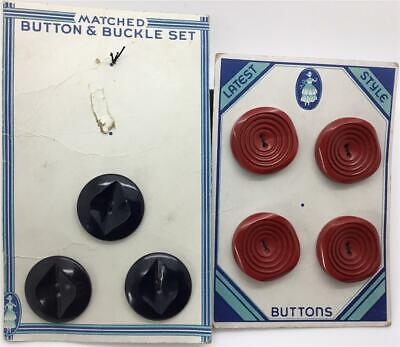 """Vintage Chunky Plastic  Buttons On Original Cards Red Black """"Latest Style"""" 1"""""""