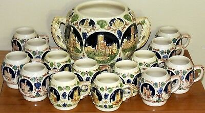 German Gerz Pottery Punch Cider Wine Beer Bowl Tureen 14 Cups Castles on Rhine