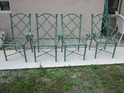 Vintage Aluminun Dining Chairs and Table Vase  No Cushion Set of Four