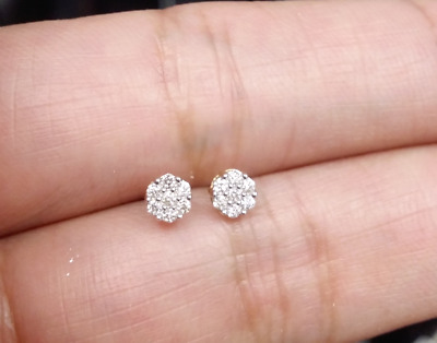 STEAL DEAL! 10K Gold Genuine Diamond Round Cluster Studs Earrings .11ct 4MM