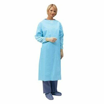 (QTY 75) Disposable Blue Gown Cover Protection / Hospital Medical Dental Visitor