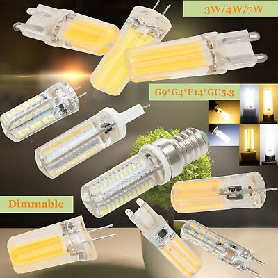 Regulable E14 G9 G4 Silicona Cristal Bombilla LED 3w 5w SMD Cob Blanco Lámpara