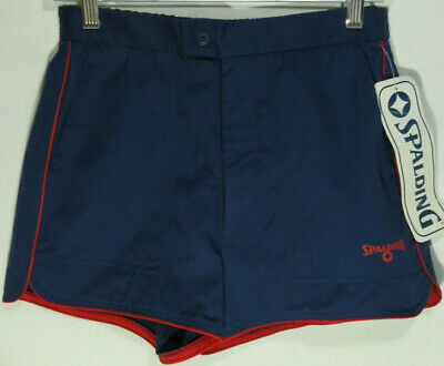 Vintage 1970's Classic Spalding Navy & Red Lined Tennis, Gym or Swim Shorts NWT
