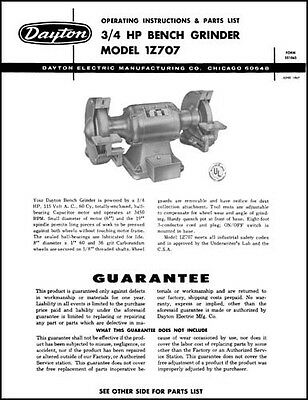 dayton model 1z707 bench grinder instructions & parts