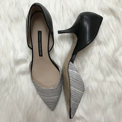 """45091b1a920 French Connection Size 9 39 Striped """"Effie"""" Heels Black White Leather  D Orsay"""