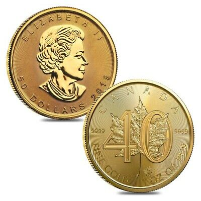 Lot of 2 - 2019 1 oz Gold Canadian Maple Leaf 40th Anniversary .9999 Fine $50
