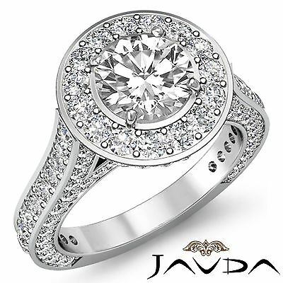 3.6ct Round Diamond Vintage Style Engagement Ring GIA F Color VS2 14k White Gold