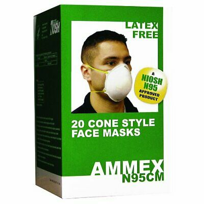 AMMEX N95CM Cone Face Mask - NIOSH Certified, Dust Respirator, White (Box of 20)