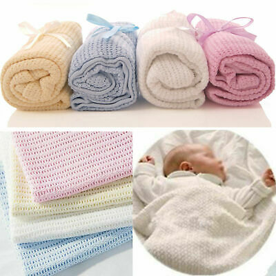 x2 New 100% Cotton Baby Cellular Blanket Pram Cot Bed Moses Basket Crib 70x90cm