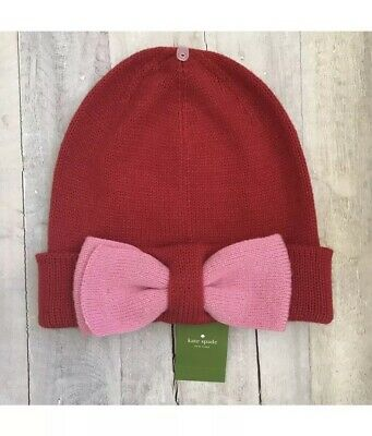 51e6b274280dc Kate Spade New York Color Block Beanie Bow Pink Red Knit Hat MSRP  48 NEW