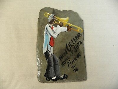 Pierre Laiche '78 Slate Painting New Orleans Home of Jazz Trombone Player Signed