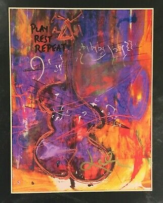 """Jeff Laibson 'Periwinkle Bass' Hand Signed Art Print 12""""X16"""" Matted Art of Music"""