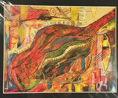 """Jeff Laibson """"Guiano""""' Hand Signed Art Print 12""""X16"""" Matted 'Art of Music Guitar"""