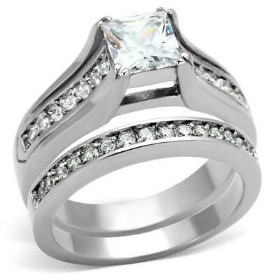 Stainless Steel Princess Square CZ Wedding Engagement Band 2 Ring Women's Set