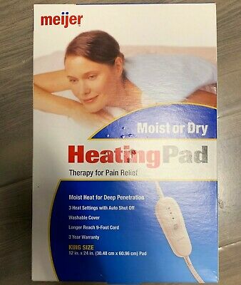 """Meijer Moist or Dry Heating Therapy Pad King Size (12"""" x 24"""") (New in Box)"""