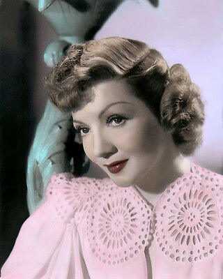 """CLAUDETTE COLBERT FILM STAGE HOLLYWOOD ACTRESS 8x10"""" HAND COLOR TINTED PHOTO"""