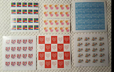 Lot of US postage stamps 6 designs love & hearts full sheets face value $58.80