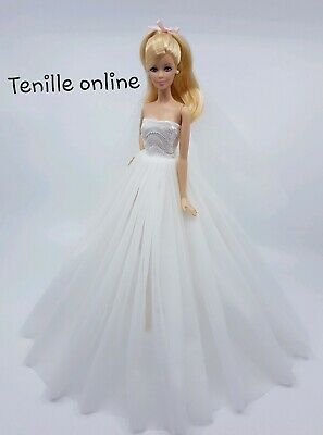 New Barbie doll clothes outfit traditional wedding gown dress white shoes veil