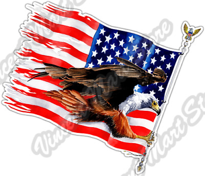 99e567a528796 Biker Bald Eagle USA Flag America Patriot Car Bumper Vinyl Sticker Decal ...